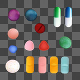 Colorful Medicine Pills and Capsules. Vector Set. Isolated Objects Stock Photo