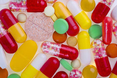Colorful medicine pills and tablets background Royalty Free Stock Images