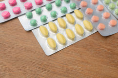 Colorful of medicine tablets and capsules Royalty Free Stock Images