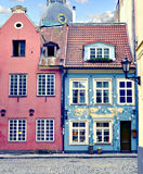 Colorful  medieval buildings in old Riga city, Latvia Royalty Free Stock Photo