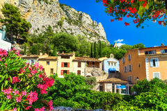 Colorful medieval mediterranean facades in Moustiers-Sainte-Marie, Provence, France stock image
