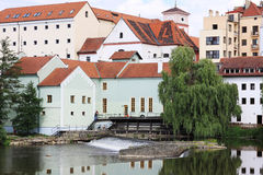 Colorful medieval Town Pisek above the river Otava Stock Images