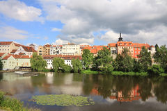 Colorful medieval Town Pisek above the river Otava Royalty Free Stock Photos