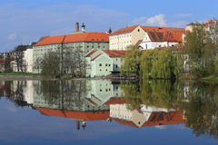 Colorful medieval Town Pisek above the river Otava Royalty Free Stock Image