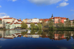 Colorful medieval Town Pisek above the river Otava Royalty Free Stock Photography