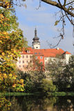 Colorful medieval Town Pisek above the river Otava, Czech Republic Stock Photo