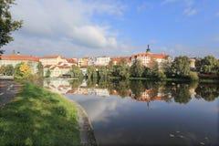 Colorful medieval Town Pisek above the river Otava, Czech Republic Stock Image
