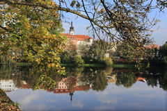 Colorful medieval Town Pisek above the river Otava, Czech Republic Royalty Free Stock Images