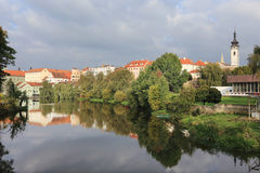 Colorful medieval Town Pisek above the river Otava, Czech Republic Stock Images