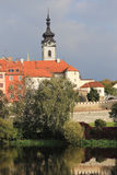 Colorful medieval Town Pisek above the river Otava, Czech Republic Royalty Free Stock Photos