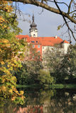 Colorful medieval Town Pisek above the river Otava, Czech Republic Stock Photography