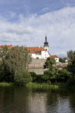 Colorful medieval Town Pisek above the river Otava, Czech Republic Stock Photos