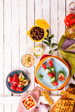Colorful Mediterranean Appetizers on Picnic Table Royalty Free Stock Photo