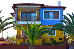 Colorful mediterranean house and balcony Royalty Free Stock Images
