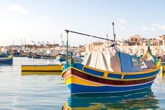 Colorful mediterranean traditional fisherman boats, Marsaxlokk, Malta. Royalty Free Stock Image
