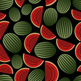 Colorful melon fruits dark seamless pattern eps10 Royalty Free Stock Photo