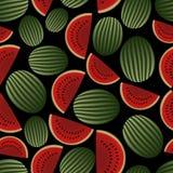 Colorful melon fruits dark seamless pattern eps10 Royalty Free Stock Photo