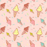 Colorful melting ice-cream seamless pattern Royalty Free Stock Photos