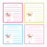 Colorful memo paper with cute sheep girls on colorful frame vector cartoon illustration for kid memo paper set Royalty Free Stock Photo