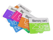 Colorful memory micro sd card heap Royalty Free Stock Photography