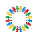 Colorful men of colored paper. Placed in a circle on a white background Royalty Free Stock Photography