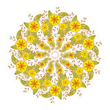 Colorful Mendie Mandala with flowers and leaves. Royalty Free Stock Images