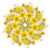 Colorful Mendie Mandala with flowers and leaves  on white Royalty Free Stock Photography