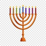 Colorful menorah candle icon, cartoon style stock illustration