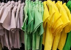 Colorful mens short sleeve shirts Royalty Free Stock Images