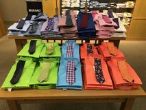 Colorful Mens Ties. On display in a department store in the men`s department stock photos