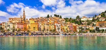 Colorful Menton - south  France. Colorful Menton - holidays in south of France Stock Image