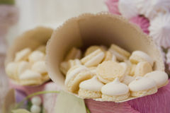 Colorful meringue beze cookies in a cup Stock Images