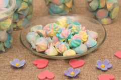 Colorful meringues in dish Royalty Free Stock Photography
