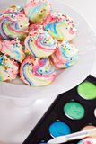 Colorful meringues rainbow colors Stock Image