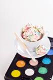 Colorful meringues rainbow colors Stock Photos