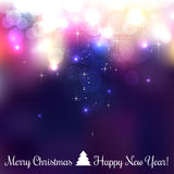 Colorful Merry Christmas background with snowflakes, light, stars. Vector Illustration. xmas. Bokeh Stock Photos
