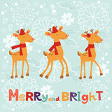 Colorful Merry Christmas composition with happy. Reindeers and merry and bright lettering Royalty Free Stock Images