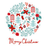 Colorful Merry Christmas composition with holiday. Elements. Vector illustration Royalty Free Stock Photo