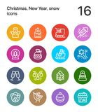 Colorful Merry Christmas and Happy New Year icons for web and mobile design pack 2. 16 line colorful vector icons royalty free illustration