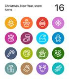 Colorful Merry Christmas and Happy New Year icons for web and mobile design pack 1. 16 line colorful vector icons vector illustration