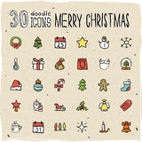 30 Colorful Merry Christmas Icons. 30 Colorful Merry Christmas Doodle Icons Stock Image