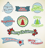 Colorful Merry Christmas labels Royalty Free Stock Photos
