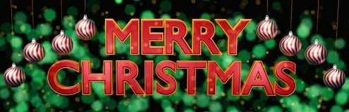 Merry Christmas greeting card design 3d rendering Royalty Free Stock Photos