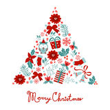 Colorful Merry Christmas tree shape with holiday Stock Photography