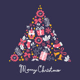 Colorful Merry Christmas tree shape with holiday Royalty Free Stock Photos