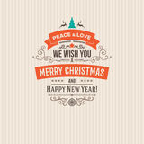Colorful Merry Christmas vector retro vintage badges. Wishes of happy holidays with decoration elements for design projects Royalty Free Stock Images