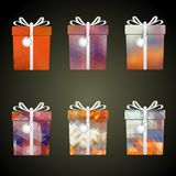 Colorful mesh wrapping paper gifts with ribbons and tags eps10 Royalty Free Stock Image