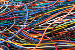 Colorful mess of cables wires and connectors Royalty Free Stock Photography