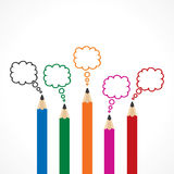 Colorful Message Bubbles with pencils Royalty Free Stock Image