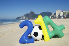 Colorful 2014 Message with Soccer Ball Football Rio Beach Brazil Royalty Free Stock Photography
